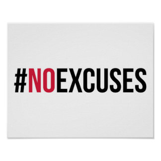 No Excuses Gym Quote Poster