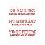 No Excuses. Postcard