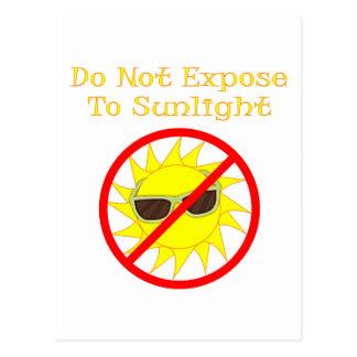 No exponga a la luz del sol postal