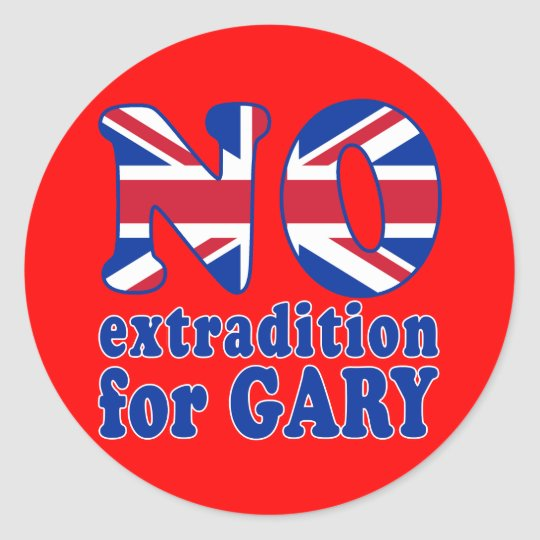 No Extradition for Gary McKinnon T-shirts Classic Round Sticker