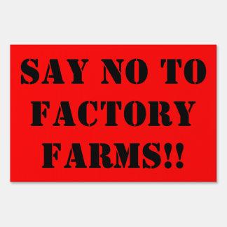 No factory farming yard sign