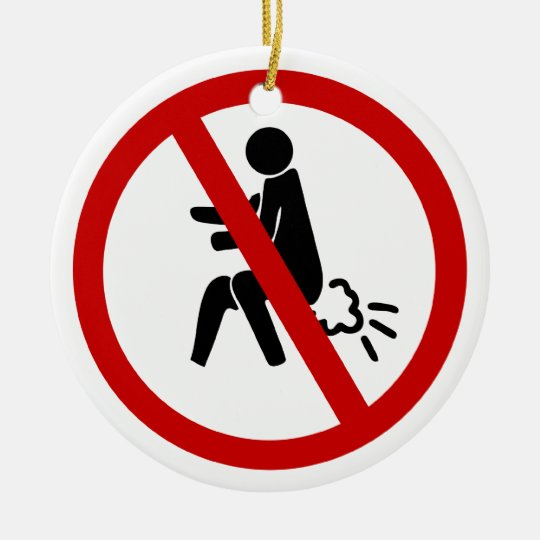 NO Farting ⚠ Funny Thai Toilet Sign ⚠ Ceramic Ornament