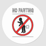 NO FARTING Warning Sign Classic Round Sticker