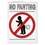 NO FARTING Warning Sign Greeting Card