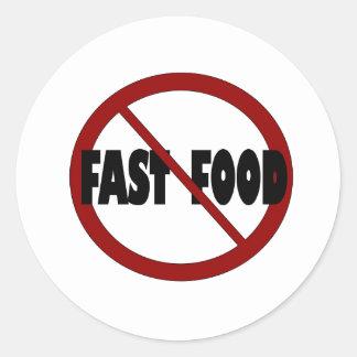 No Fast Food Classic Round Sticker