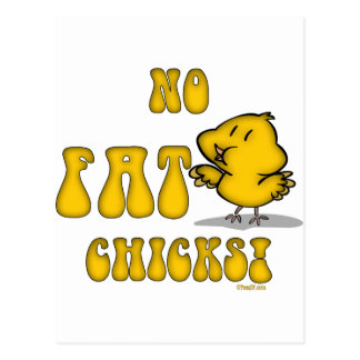 No Fat Chicks Funny Chicken Postcard