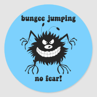no fear bungee jumping classic round sticker