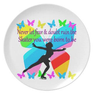 NO FEAR JUST FAITH FIGURE SKATER PLATE