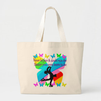 NO FEAR JUST FAITH FIGURE SKATING BUTTERFLY DESIGN LARGE TOTE BAG
