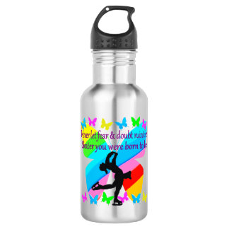 NO FEAR JUST FAITH FIGURE SKATING BUTTERFLY DESIGN WATER BOTTLE
