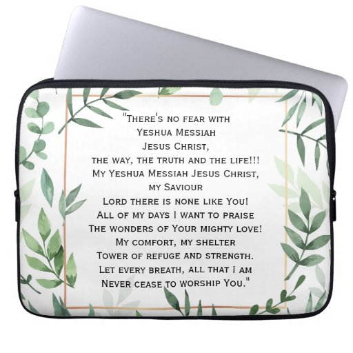 No Fear With Jesus laptop sleeve