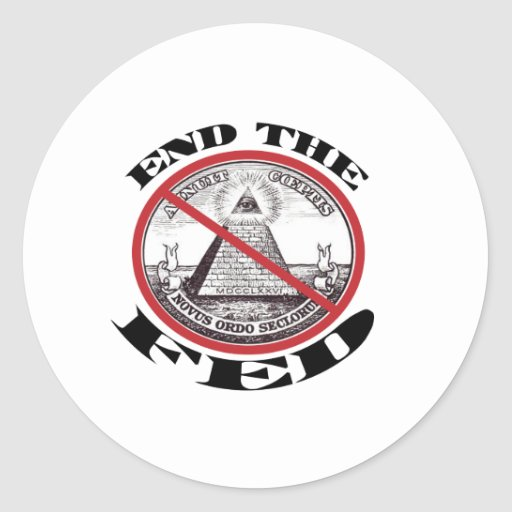 No Federal Reserve Round Stickers
