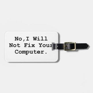 No Fix Computer Luggage Tag