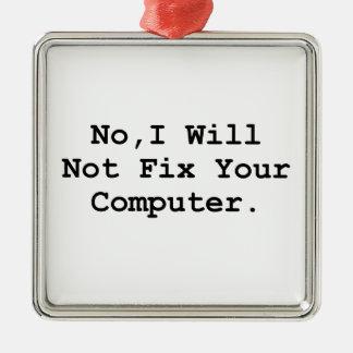 No Fix Computer Metal Ornament