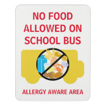 No Food Allowed On School Bus Allergy Aware Door Sign