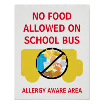 No Food Allowed On School Bus Allergy Aware Poster