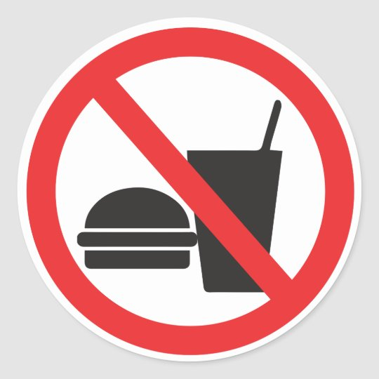 No Food Or Drink Sign Classic Round Sticker Zazzle Com