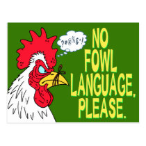 No Fowl Language Postcard