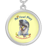 No Fowl Play Bird Dog Round Pendant Necklace