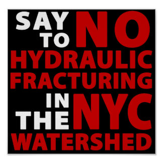 No Fracking in NYC Watershed - Poster, black