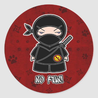 No Fun! Ninja In Red Sticker