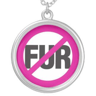 No Fur! Round Pendant Necklace