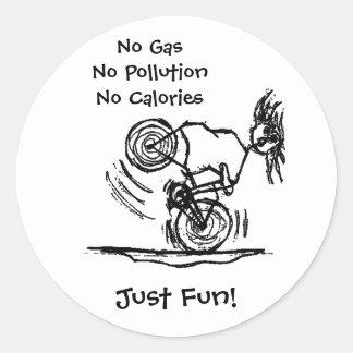 No Gas, No Pollution, No Calories Classic Round Sticker