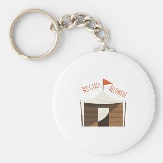 No Girls Basic Round Button Keychain