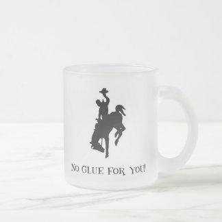 No Glue For You! Wild Crazy Horse & Rider Frosted Glass Coffee Mug