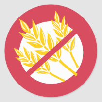 No Gluten or Wheat Food Allergy Celiac Alert Classic Round Sticker