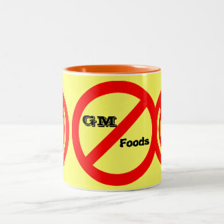No GM -genetically modified foods mug