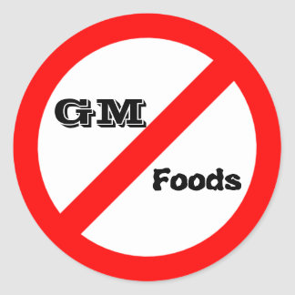 No GM -genetically modified foods stickers