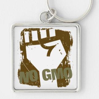 NO GMO Fist Silver-Colored Square Keychain