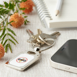 No GMO - On White Silver-Colored Rectangular Metal Keychain