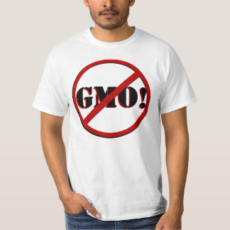 No GMO Stencil font, front and back, Custom! T-Shirt