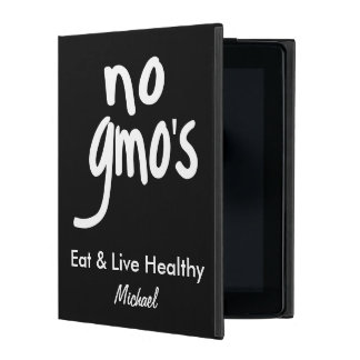 No GMO's Eat Healthy Black Name Personalized iPad Case