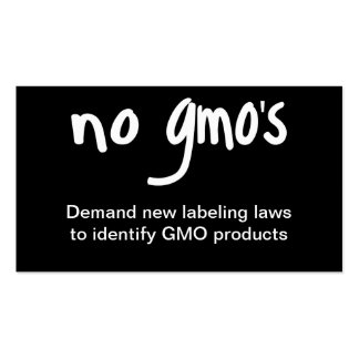 No GMO's Eat Healthy Food Promotion Black Business Card