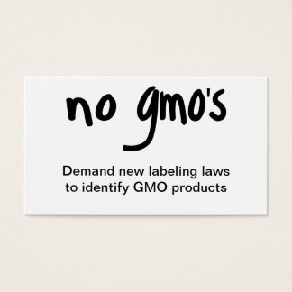No GMO's Eat Healthy Food Promotion White Business Card
