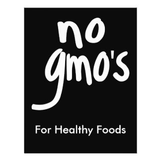 """No GMO's for Heathy Food Promotional Black 8.5"""" X 11"""" Flyer"""