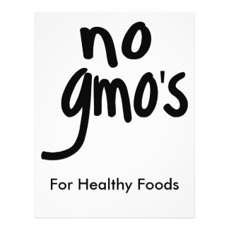 """No GMO's for Heathy Food Promotional White 8.5"""" X 11"""" Flyer"""