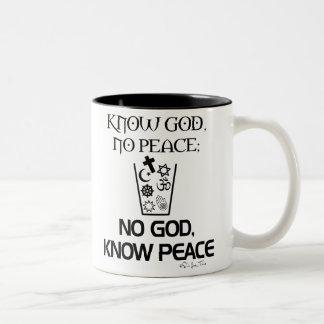 No god, Know Peace Two-Tone Coffee Mug