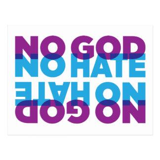 NO GOD NO HATE POSTCARD