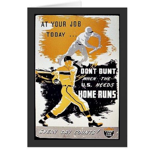 No golpee cuando Los E.E.U.U. necesitan home run Tarjeta De Felicitación