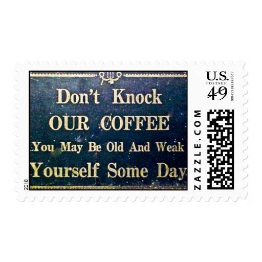 No golpee nuestro café sello postal
