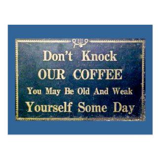 No golpee nuestro café - señalización del vintage tarjetas postales