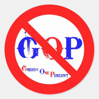 No GOP Greedy One Percent Sticker