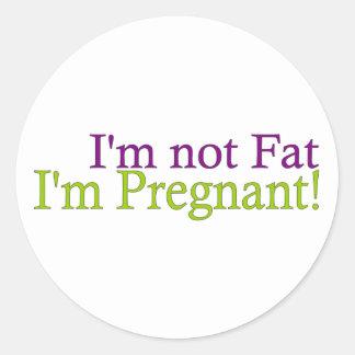 No gordo embarazada pegatina redonda