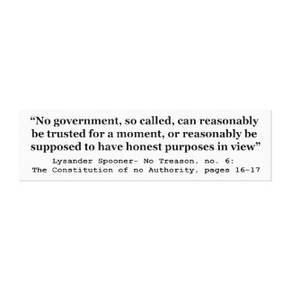No government Can Reasonably Be Trusted Canvas Print