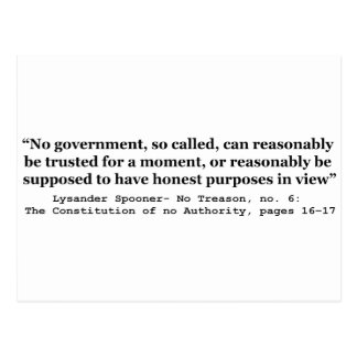 No government Can Reasonably Be Trusted Post Card