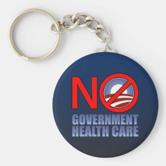 No Government Health Care Basic Round Button Keychain